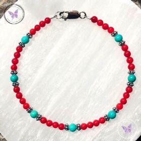 Coral & Turquoise Bead Bracelet